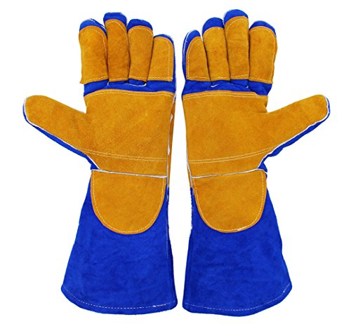 Hilinker Professional Leather Welding Gloves for Welder TIG MIG with Cotton Soft Lined, Cut and Heat Resistant Extra Long