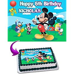 Mickey Mouse Clubhouse Birthday Cake Personalized Cake Toppers Edible Frosting Photo Icing Sugar Paper A4 Sheet 1/4 ~ Best Quality Edible Image for cake