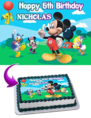 Mickey Mouse Clubhouse Birthday Cake Personalized Cake Toppers Edible Frosting Photo Icing Sugar Paper A4 Sheet 1/4 ~ Best Quality Edible Image for cake -