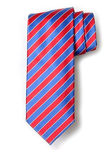 (Robert Jensen Finest Silk Handmade Men's Neck Tie - Mogador - Satin Two-Bar Stripe (Rose with Baby Blue))