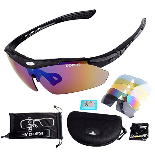 Sports Sunglasses,Lefox Cycling Glasses with 5 Replacement Lenses for Golf Fishing Night Running Mountain Climbing Driving Hiking and - Glass Replacement Sunglasses