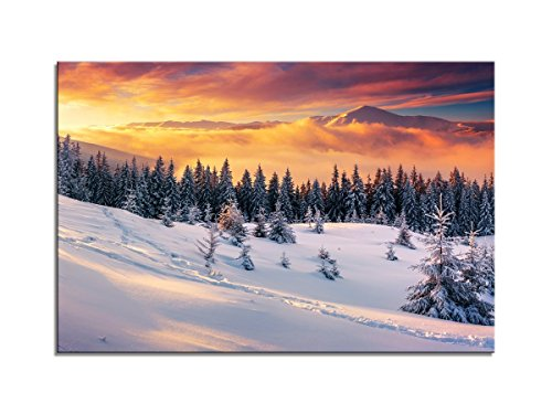 Canvas Wall Art - Snow Covered Trees in the Mountains at Sunset. Beautiful Winter Landscape. Winter Forest. - Modern Home Decor Stretched and Framed Ready to Hang