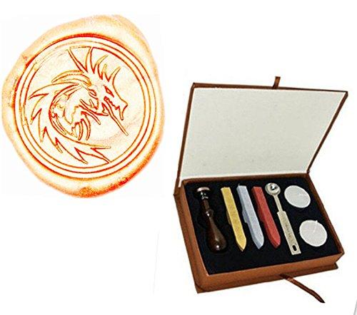 (MDLG Vintage Filigree Fire Dragon Custom Picture Logo Wedding Invitation Wax Seal Sealing Stamp Sticks Spoon Gift Box Set Kit)