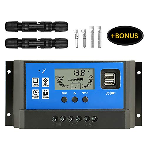 PWM 50A Solar Charge Controller,Intelligent USB Port Display 12V/24V Auto Charge Regulator