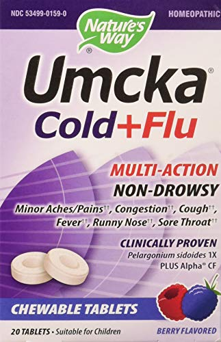 (Nature's Way Umcka Cold and Flu Chewable, Berry, 20 Count)