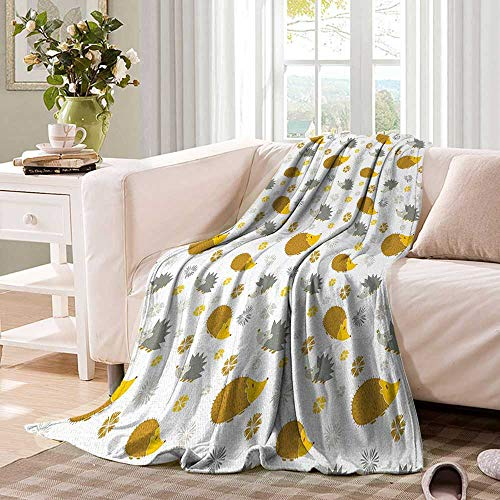 Anhuthree Hedgehog Super Soft Lightweight Blanket Autumn in Woods Theme Different Wildlife Mascots with Little Flowers Summer Quilt Comforter 60''x36'' Goldenrod Grey Yellow by Anhuthree (Image #1)