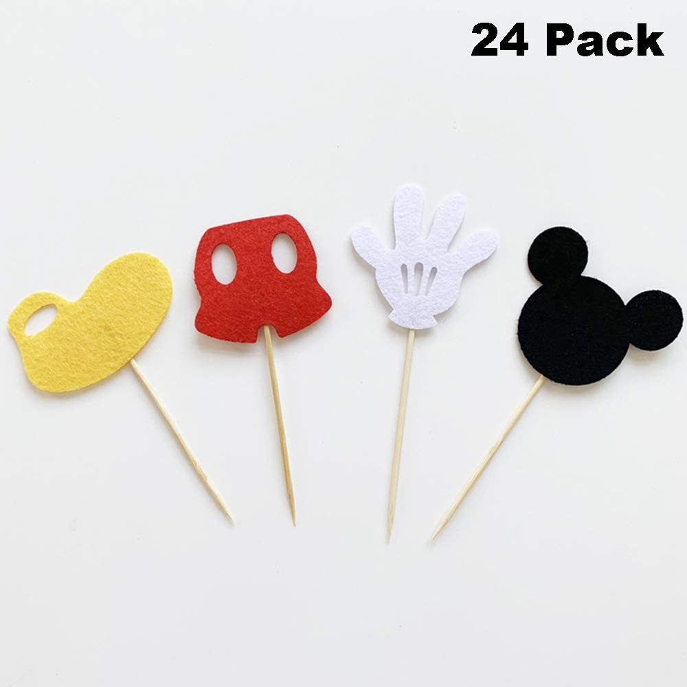 Cupcake Toppers Banners Including Giant Number ONE Aluminum Foil Balloons BeYumi 30Packs Mickey Themed 1st Birthday Party Decorations Supplies for Kids Mickey Onederful Cake Topper Latex Balloons