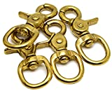 Okones Pack of 4,4/5''Eye Diameter,2-2-3'' Overall Length,Solid Brass Lobster Clasps Oval Swivel Trigger Clips Hooks for Straps Bags Belting leathercraft(2-2/3'')