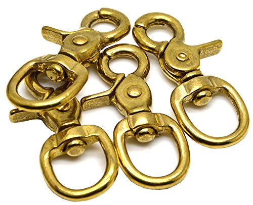 Brass Solid Swivel (Okones Pack of 4,4/5''Eye Diameter,2-2-3'' Overall Length,Solid Brass Lobster Clasps Oval Swivel Trigger Clips Hooks for Straps Bags Belting leathercraft(2-2/3''))