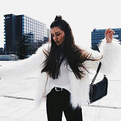 Autunno Giacca Donna Lunga Outerwear Puro Cappotto Colore Semplice Stile Cardigan Eleganti Manica Bianca Modern Glamorous Alta Hot Invernali Moda Pelliccia Ecopelliccia Vita Casuali Vintage rErZ6dq
