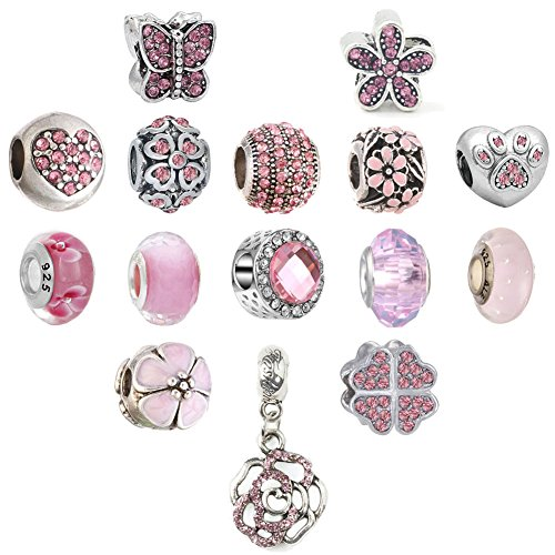 N'joy 16PC Assorted Crystal Rhinestone Charm Beads,Clap,Stoper,Dangle Pendant,Fit European Charm Bracelet,October Birthstone (Flower-Rose Pink)