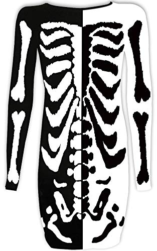 For G and PL Women's Halloween Costume Skeleton Funny Long Sleeve Midi Dresses Black & White Skeleton -