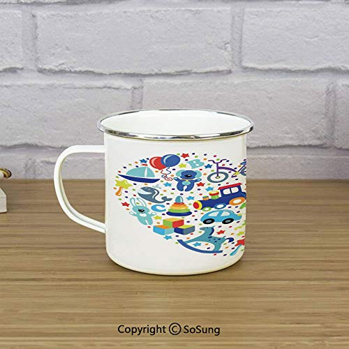 (Boys Girls Room Enamel Camping Mug Travel Cup,Heart Shaped Collage of Toys for Newborn Baby Boy Train Alphabet,11 oz Practical Cup for Kitchen, Campfire, Home, TravelBlue Grey)