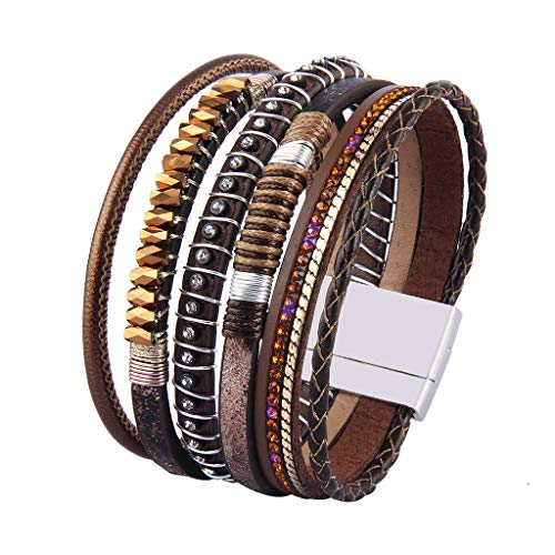 Jenia Women Leather Cuff Bracelet Bohemian Wrap Bracelet Crystal Charm Bangle Handmade Birthday Gift for Girls, Wife, Sister, ()