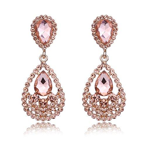- YUXI Women's Silver Wedding Rhinestone Teardrop Earrings Dangle Crystal Chandelier Earring Clear