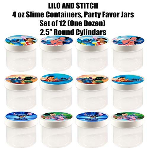 """Lilo and Stitch 4 oz Slime Containers, Party Favor Jars, 2.5"""" Round Cylinder -12 pcs, Durable Plastic, Put Any Content, Candy, Cereal, gumballs"""