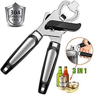 Can Opener Manual, GiniHomer Food-Safe Stainless Steel Bottle Opener, Good Grips Can Opener, Easy Turn Safety