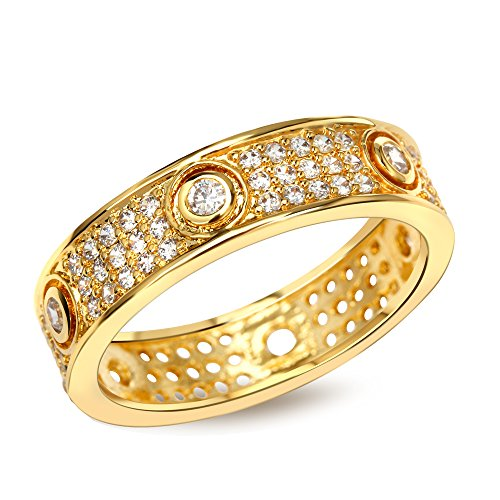 PSRINGS Rings men gold plated with Cubic zirconia luxury Rings tungsten ring lord of rings jewelry 6.0 (Of Mini Lord The Rings Film Cell)