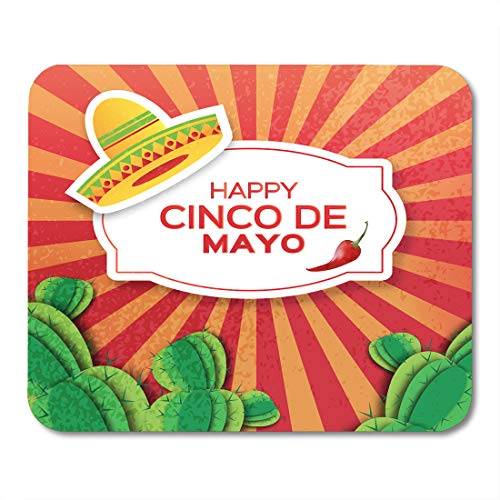 Emvency Mouse Pads Mexican Sombrero Hat Succulents and Red Yellow Green Chili Pepper Jalapeno Mexico Carnival Orange Cactus Mouse Pad Mats 9.5