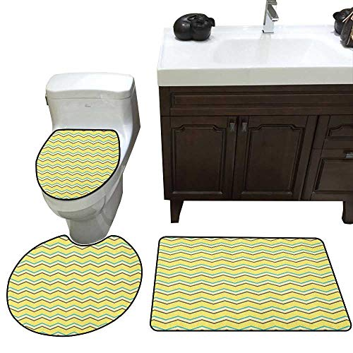 (Moeeze-Home Yellow Chevron Skidproof Bath Mat Zigzag Lines in Horizontal Direction Retro Style Display 3 Piece Toilet mat Set Yellow Sky Blue Charcoal Grey)