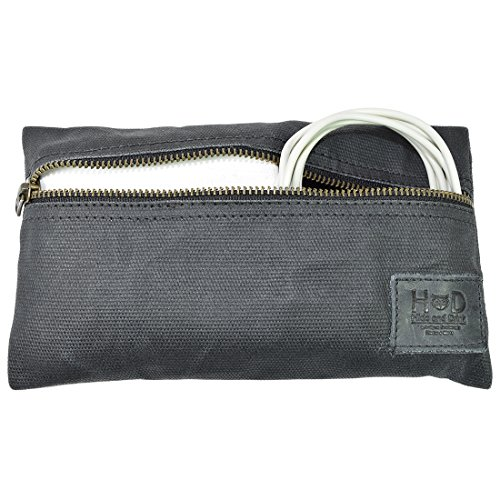 Waxed Canvas All Purpose Utility & Charger Case for MacBook, iPad & Laptop Handmade by Hide & Drink :: Charcoal Black