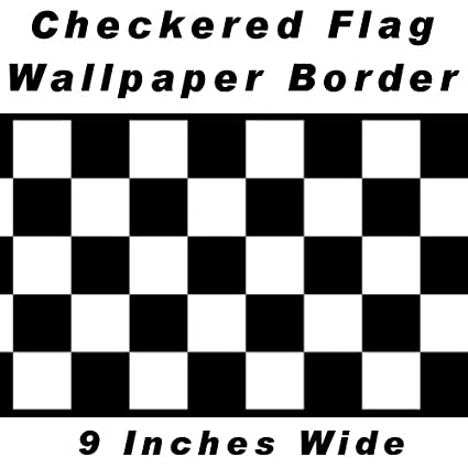 checkered flag cars nascar wallpaper border 9 inch black edge by