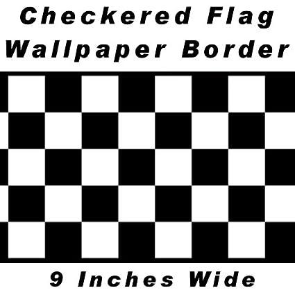 Checkered Flag Cars Nascar Wallpaper Border 9 Inch Black Edge By