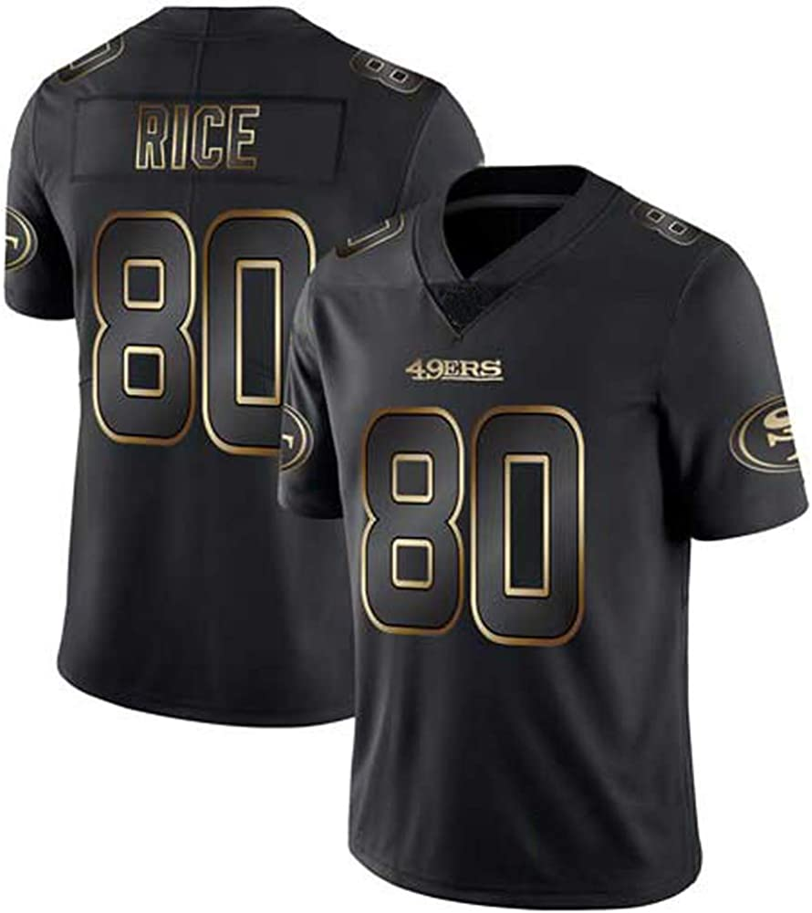 T-Shirt in Jersey a Rete Football Americano da Uomo Garoppolo Bosa Rice Montana Edizione Oro Nero Edizione Elite Ricamata 49ers 10 16 80 97