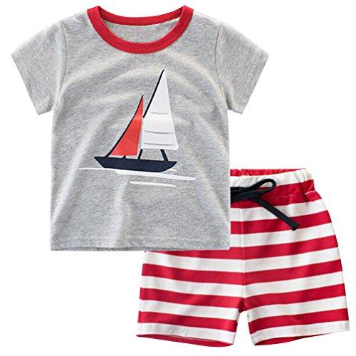 Csbks Kids Boys Summer Outfits Short Sleeve T-Shirt & Shorts Sets 1-8 Toddler Sailboat 90 -