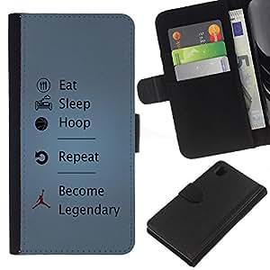 JackGot ( Divertente Eat Sleep Hoop Legendary ) Sony Xperia Z1 L39 la tarjeta de Crédito Slots PU Funda de cuero Monedero caso cubierta de piel