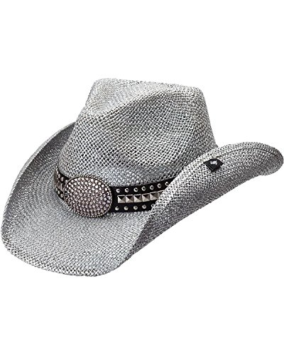 Peter Grimm Ltd Women's Gila Bling Oval Buckle Hat Band Straw Cowgirl Silver One Size