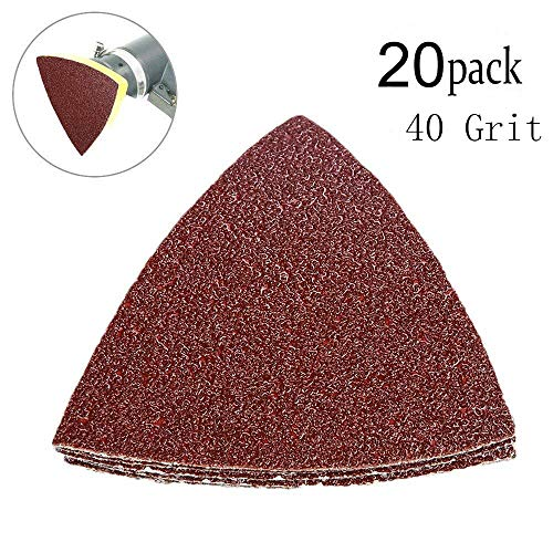 40 Grit Triangular Multitool Sandpaper, Wood Sanding Fit 3-1/8 Inch Oscillating Multi Tool Sanding Pad, Pack of 20
