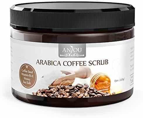 Arabica Coffee Scrub 15 oz, Anjou Body Scrub with Honey, Sea Salt, VB, VE (Natural Exfoliator, Cellulite Treatment, Skin Moisturizer, Tan Remover, Great for Varicose Veins treatment)