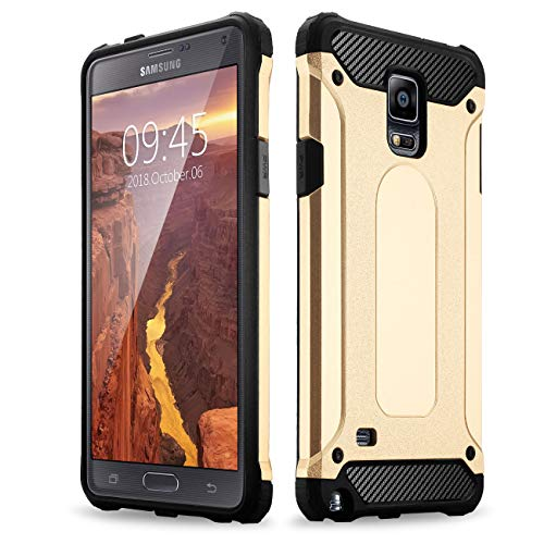 Hybrid 2 in 1 Dual Layer Rugged Shockproof Case for Samsung Galaxy Note 4 case Cover [Gold] ()