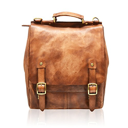 JUSTIN Backpack mens women multipurpose work leisure ipad laptop flap rucksack outside pocket bag italian distressed leather (tan brown) by MYITALIANBAG