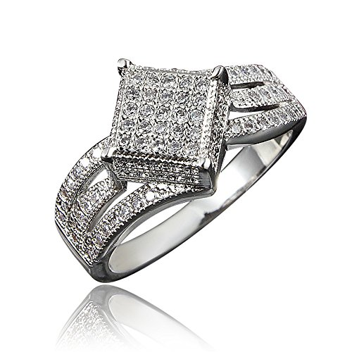 White Gold Plated White Zircon Wedding Engagement Floral - Inspired Floral Sapphire Ring