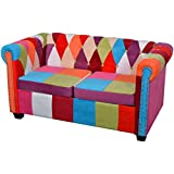 Festnight Chesterfield Sofa Fabric Upholstery Sofa Couches with Stable Wooden Frame Living Room Home Office Furniture (Style2)