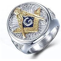 A.Yupha Mens Free Mason Ring Freemason Silver Gold Plated Titanium Steel Masonic Ring (10)