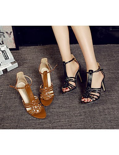 Slingback Black Strap Leather Round Ankle ShangYi SandalsOffice Women's Stiletto Toe Novelty Shoes Comfort Gladiator IwEOqFEC