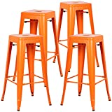 POLY & BARK EM-126-ORA-X4-A Trattoria Bar Stool, Set of 4, Orange For Sale