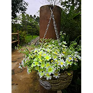 Zzooi Artificial Sweet Alyssum Flowers Hanging Basket with Chain Flowerpot Purple 21