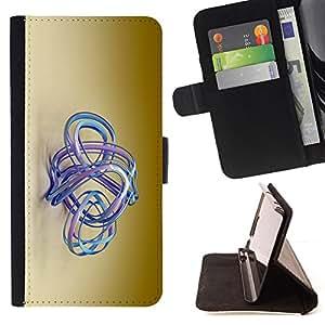 - blue aqua water golden brown beige - - Prima caja de la PU billetera de cuero con ranuras para tarjetas, efectivo desmontable correa para l Funny HouseFOR Sony Xperia Z1 L39