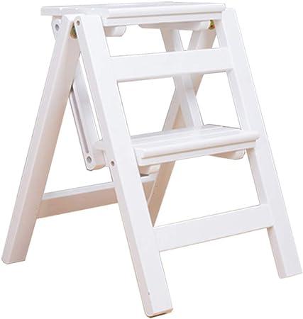 Taburete Silla de Escalera Escalera de Mano multifunción Plegable de Madera Maciza Carga Máxima 120kg Ensanchado Transformando Fold Up Home Biblioteca Cocina Oficina: Amazon.es: Hogar