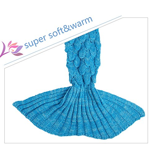 BATTOP Mermaid Tail Knitted Blanket for Kids- (Fish Scale Style-Child size, Cyan-Blue)