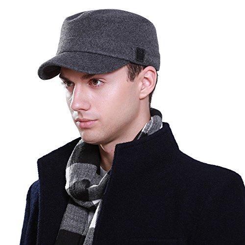 (Winter Mens Wool Blend Cadet Military Baseball Twill Corps Hats Plain Flat Caps)