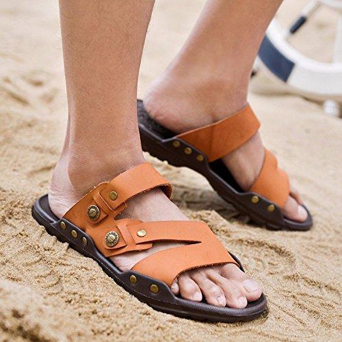Sandali di estate degli uomini Sandali di scossa di tendenza dei pattini di marea scarpa da tennis antiscivolo all'aperto degli uomini all'indietro, marrone, UK = 7.5, EU = 41 1/3