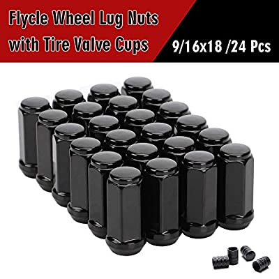 20PCS 1.8 inch Black 9/16-18 Closed End Bulge Acorn Lug Nuts - Cone Seat - 3/4