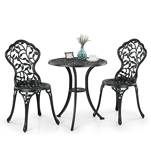 IKAYAA 2 Seater Garden Patio Bistro Set Aluminum Porch Balcony Garden Table & 2 Chairs Set Furniture Black