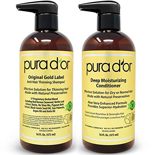 PURA D'OR Biotin Anti-Thinning Deep Moisturizing Gold Label Shampoo & Conditioner Set, Clinically Tested Effective Solution with Natural Ingredients, All Hair Types, Men & Women (Packaging may vary)