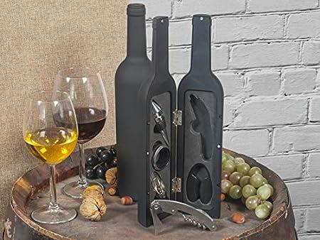 Home SOMMELIER Estuche con forma de botella con 5accesorios para vino, Negro
